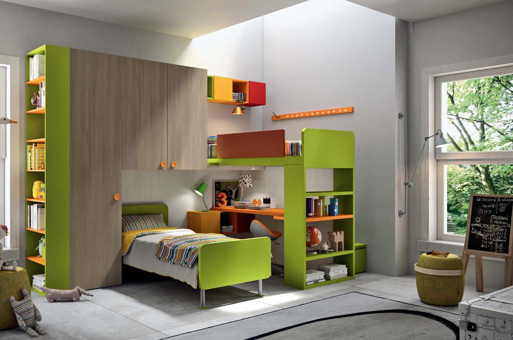 Arredamento cameretta colore verde e legno