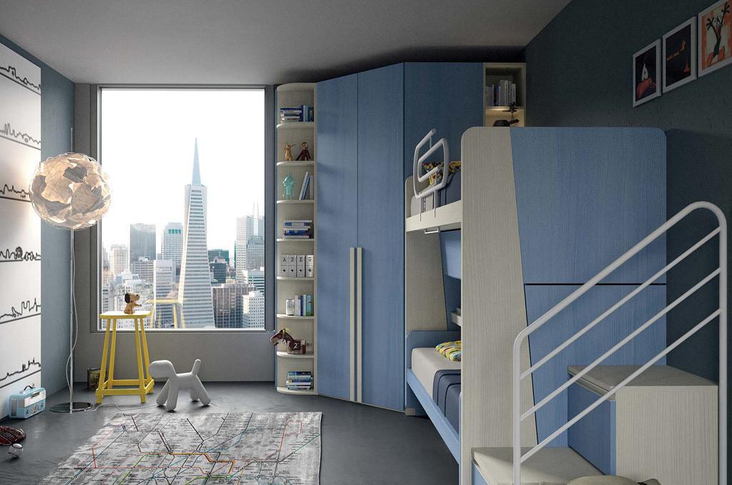Cameretta colore azzurro e legno